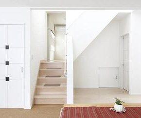 階段を上がると、中2階の和室。右は洗面、浴室<br /> 右下の白の小扉は半地下へとつながっています